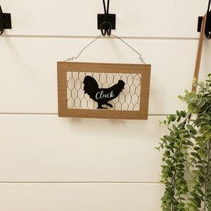 Chicken metal & wood hanging decor